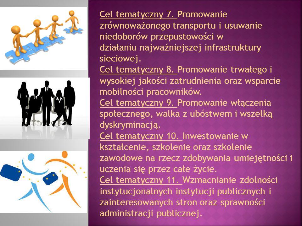 Cel tematyczny 7. Promowanie zrównoważonego transportu i usuwanie niedoborów przepustowości w działaniu najważniejszej infrastruktury sieciowej. Cel t