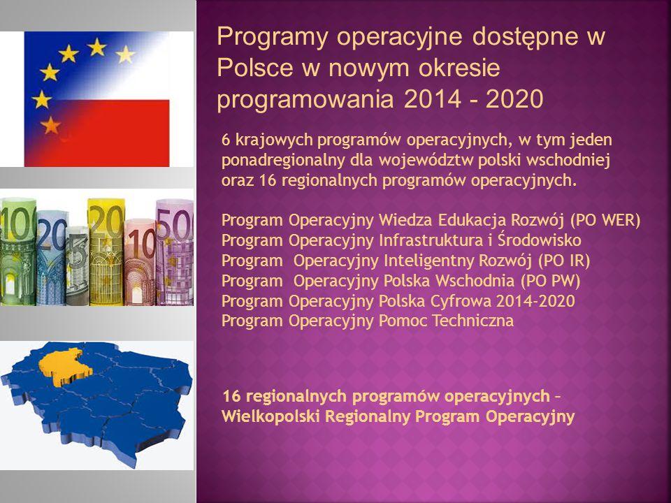 Programy operacyjne dostępne w Polsce w nowym okresie programowania 2014 - 2020 6 krajowych programów operacyjnych, w tym jeden ponadregionalny dla wo