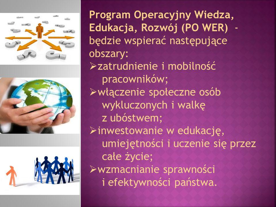 Program Operacyjny Wiedza, Edukacja, Rozwój (PO WER) - będzie wspierać następujące obszary:  zatrudnienie i mobilność pracowników;  włączenie społec