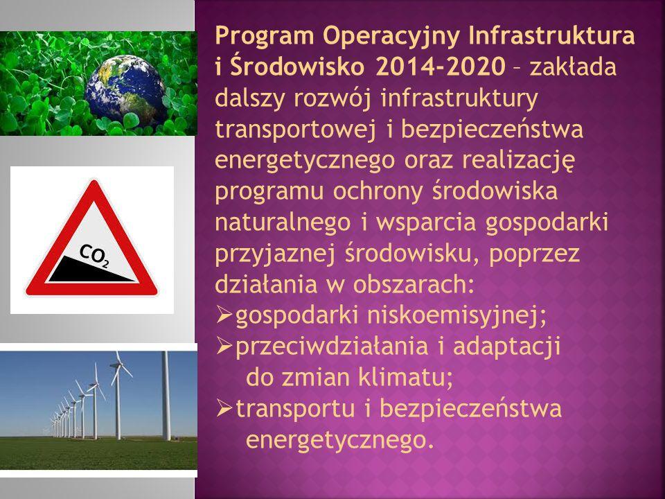 Program Operacyjny Infrastruktura i Środowisko 2014-2020 – zakłada dalszy rozwój infrastruktury transportowej i bezpieczeństwa energetycznego oraz rea