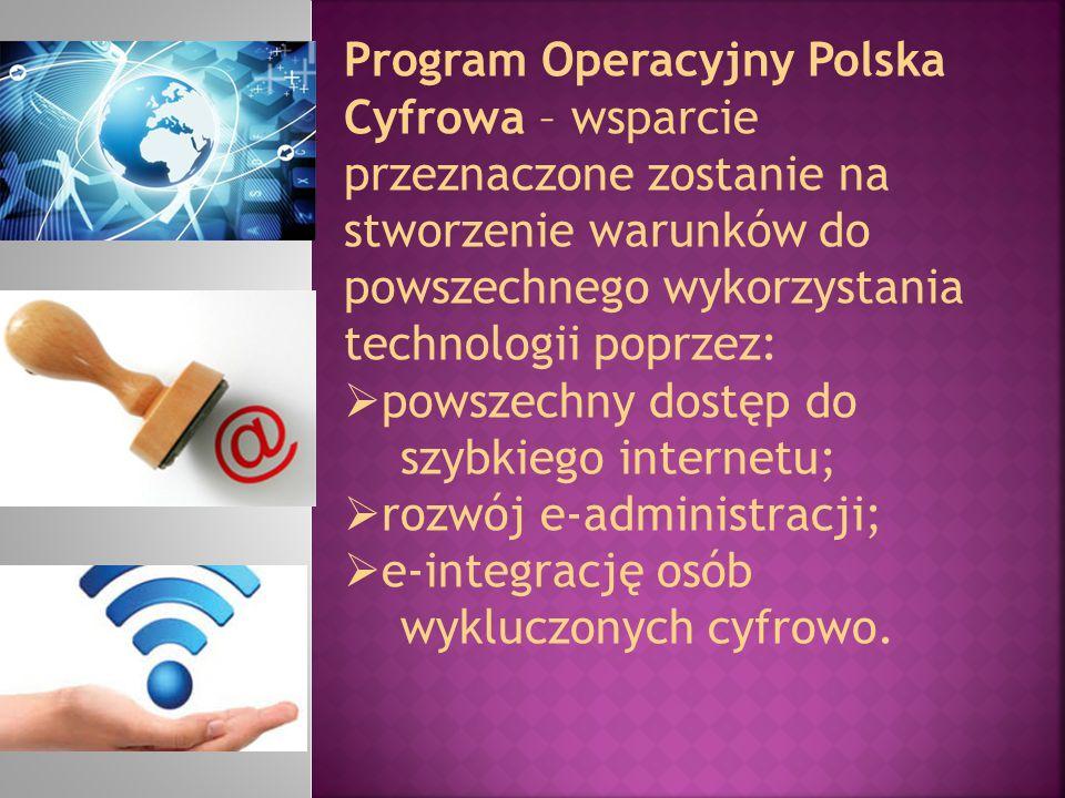 Program Operacyjny Polska Cyfrowa – wsparcie przeznaczone zostanie na stworzenie warunków do powszechnego wykorzystania technologii poprzez:  powszec