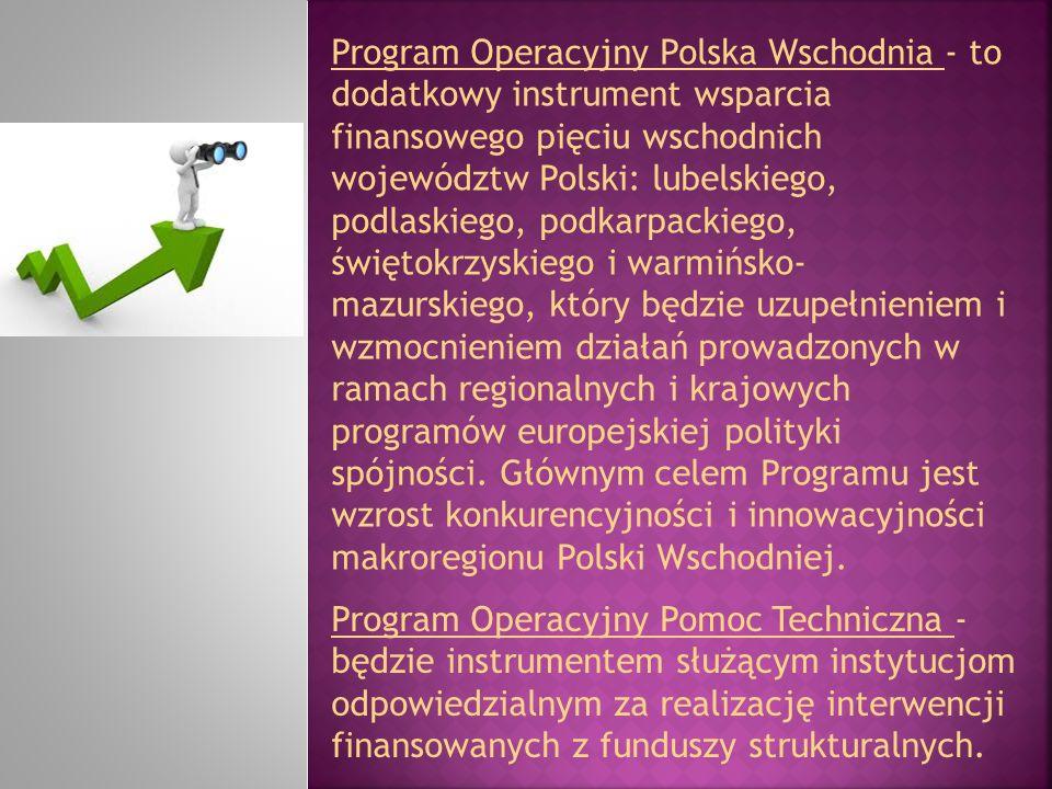 Program Operacyjny Polska Wschodnia - to dodatkowy instrument wsparcia finansowego pięciu wschodnich województw Polski: lubelskiego, podlaskiego, podk