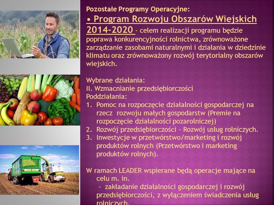 Pozostałe Programy Operacyjne: Program Rozwoju Obszarów Wiejskich 2014-2020 - celem realizacji programu będzie poprawa konkurencyjności rolnictwa, zró