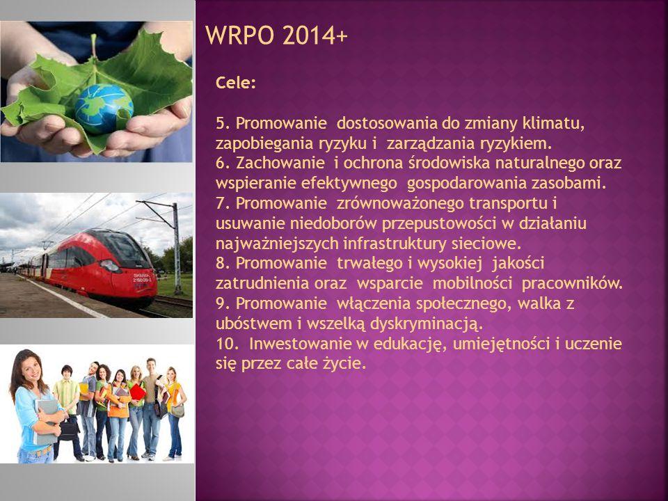 WRPO 2014+ Cele: 5. Promowanie dostosowania do zmiany klimatu, zapobiegania ryzyku i zarządzania ryzykiem. 6. Zachowanie i ochrona środowiska naturaln
