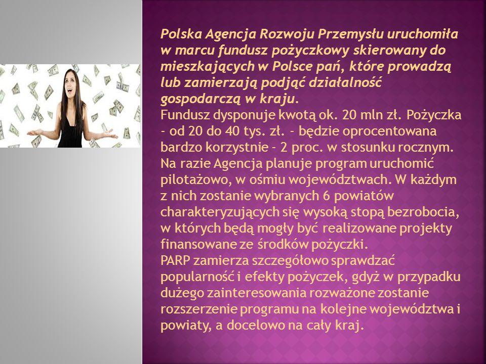 Polska Agencja Rozwoju Przemysłu uruchomiła w marcu fundusz pożyczkowy skierowany do mieszkających w Polsce pań, które prowadzą lub zamierzają podjąć