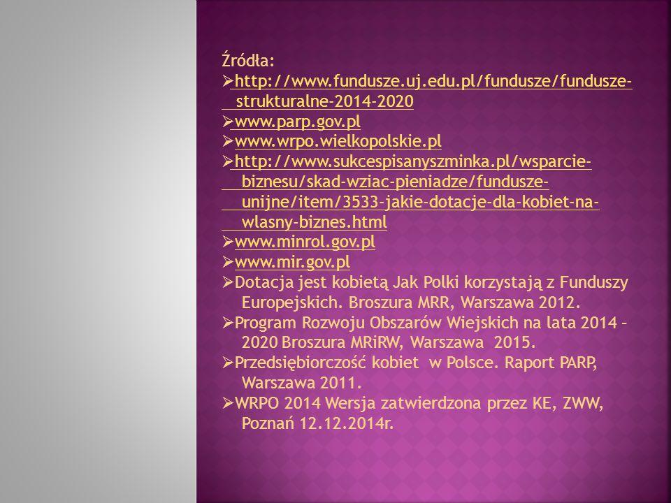 Źródła:  http://www.fundusze.uj.edu.pl/fundusze/fundusze- http://www.fundusze.uj.edu.pl/fundusze/fundusze- strukturalne-2014-2020  www.parp.gov.pl w
