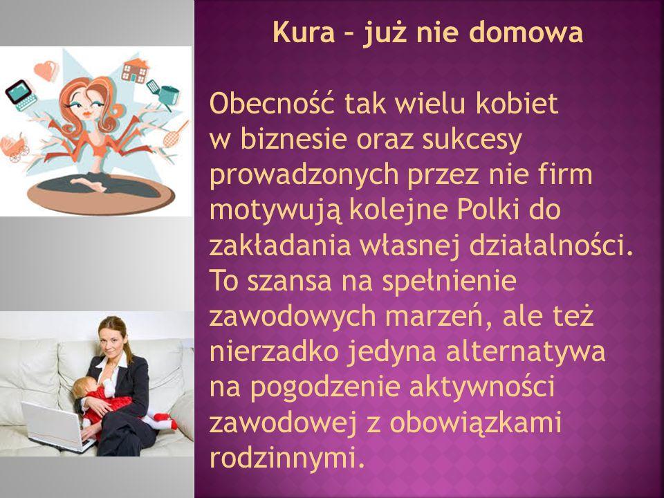Kura – już nie domowa Obecność tak wielu kobiet w biznesie oraz sukcesy prowadzonych przez nie firm motywują kolejne Polki do zakładania własnej dział