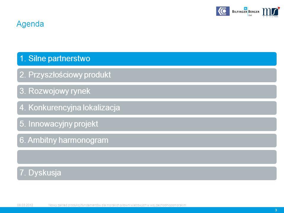 Produkcja, transport, montaż 14 08.03.2012 Przyszłościowy produkt Nowy zakład produkcji fundamentów dla morskich siłowni wiatrowych w woj.zachodniopomorskim