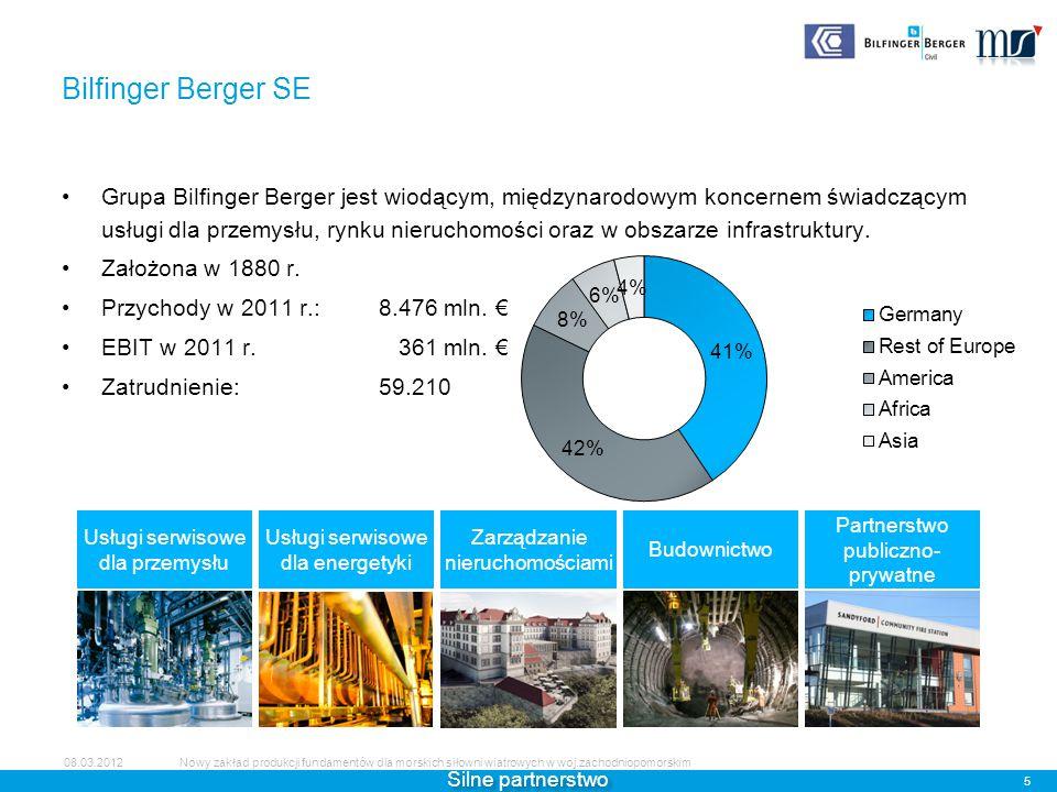 ABJV (50% udziałów Bilfinger) jest wiodącą firmą instalującą fundamenty dla morskich siłowni wiatrowych.