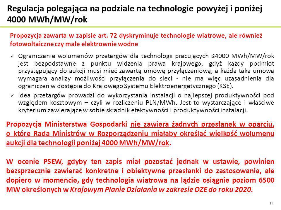 11 Ograniczanie wolumenów przetargów dla technologii pracujących ≤4000 MWh/MW/rok jest bezpodstawne z punktu widzenia prawa krajowego, gdyż każdy podmiot przystępujący do aukcji musi mieć zawartą umowę przyłączeniową, a każda taka umowa wymagała analizy możliwości przyłączenia do sieci - nie ma więc uzasadnienia dla ograniczeń w dostępie do Krajowego Systemu Elektroenergetycznego (KSE).