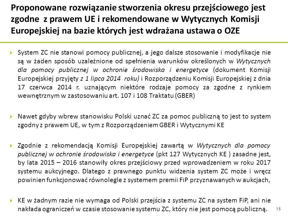  System ZC nie stanowi pomocy publicznej, a jego dalsze stosowanie i modyfikacje nie są w żaden sposób uzależnione od spełnienia warunków określonych w Wytycznych dla pomocy publicznej w ochronie środowiska i energetyce (dokument Komisji Europejskiej przyjęty z 1 lipca 2014 roku) i Rozporządzeniu Komisji Europejskiej z dnia 17 czerwca 2014 r.