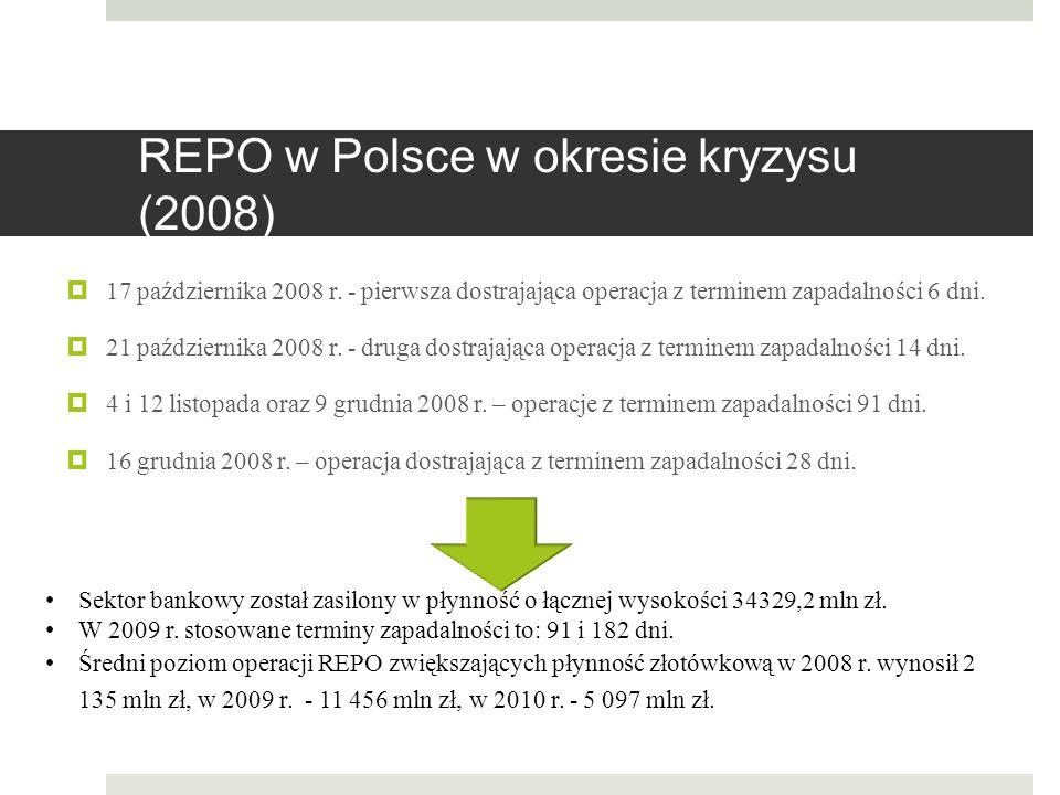 REPO w Polsce w okresie kryzysu (2008)  17 października 2008 r. - pierwsza dostrajająca operacja z terminem zapadalności 6 dni.  21 października 200