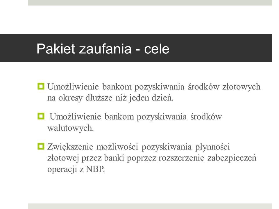Pakiet zaufania - cele  Umożliwienie bankom pozyskiwania środków złotowych na okresy dłuższe niż jeden dzień.  Umożliwienie bankom pozyskiwania środ