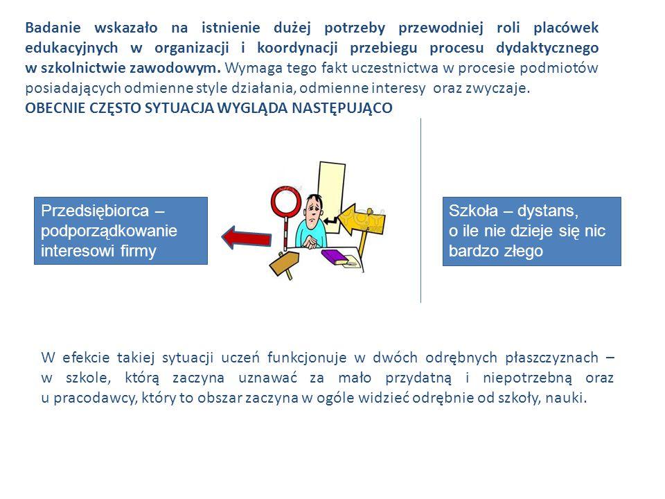 Badanie wskazało na istnienie dużej potrzeby przewodniej roli placówek edukacyjnych w organizacji i koordynacji przebiegu procesu dydaktycznego w szkolnictwie zawodowym.