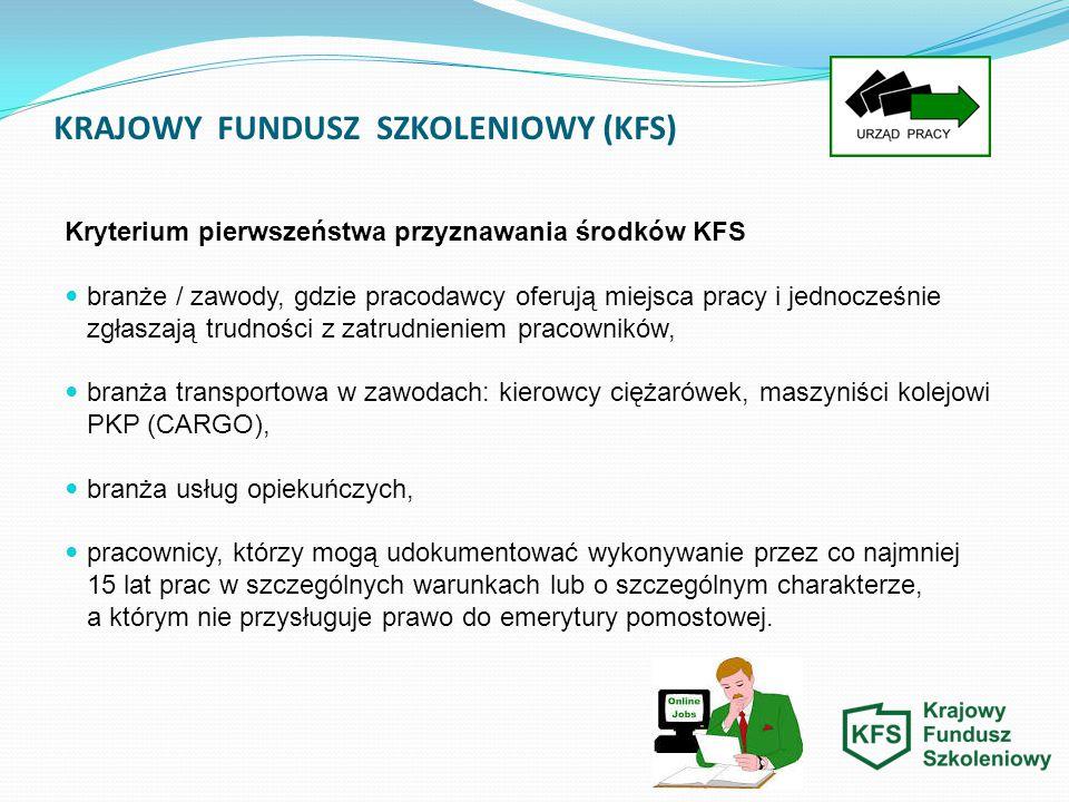 KRAJOWY FUNDUSZ SZKOLENIOWY (KFS) Kryterium pierwszeństwa przyznawania środków KFS branże / zawody, gdzie pracodawcy oferują miejsca pracy i jednocześ