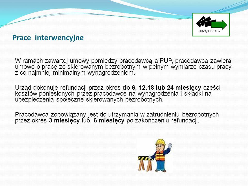 Prace interwencyjne W ramach zawartej umowy pomiędzy pracodawcą a PUP, pracodawca zawiera umowę o pracę ze skierowanym bezrobotnym w pełnym wymiarze c