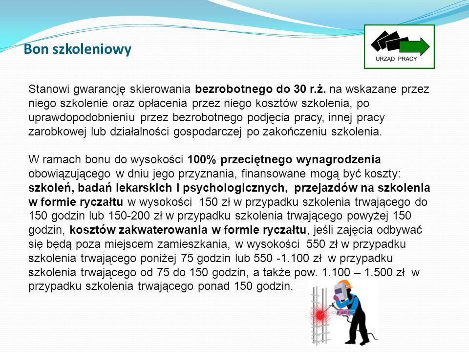 Bon szkoleniowy Stanowi gwarancję skierowania bezrobotnego do 30 r.ż. na wskazane przez niego szkolenie oraz opłacenia przez niego kosztów szkolenia,