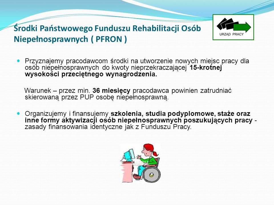 Środki Państwowego Funduszu Rehabilitacji Osób Niepełnosprawnych ( PFRON ) Przyznajemy pracodawcom środki na utworzenie nowych miejsc pracy dla osób n