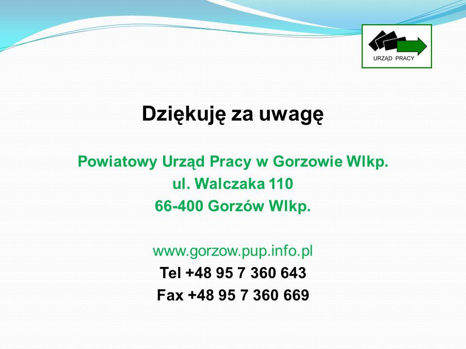 Dziękuję za uwagę Powiatowy Urząd Pracy w Gorzowie Wlkp. ul. Walczaka 110 66-400 Gorzów Wlkp. www.gorzow.pup.info.pl Tel +48 95 7 360 643 Fax +48 95 7