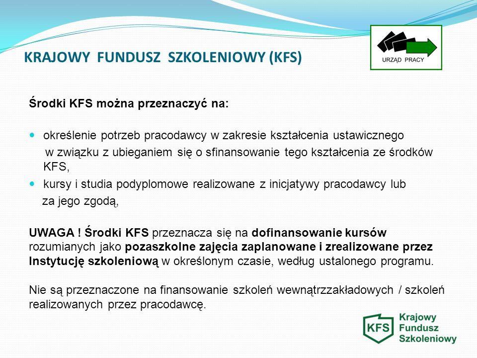 KRAJOWY FUNDUSZ SZKOLENIOWY (KFS) Środki KFS można przeznaczyć na: określenie potrzeb pracodawcy w zakresie kształcenia ustawicznego w związku z ubieg