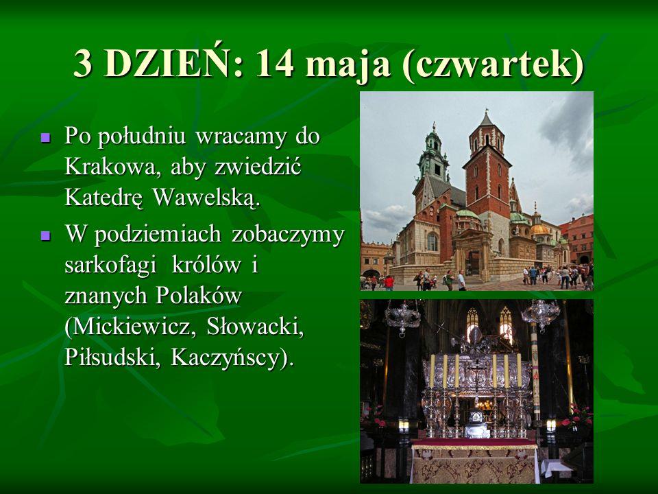 Po południu wracamy do Krakowa, aby zwiedzić Katedrę Wawelską. Po południu wracamy do Krakowa, aby zwiedzić Katedrę Wawelską. W podziemiach zobaczymy