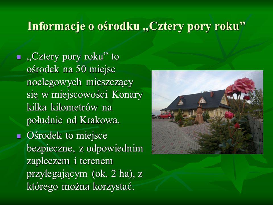 """Informacje o ośrodku """"Cztery pory roku """"Cztery pory roku to ośrodek na 50 miejsc noclegowych mieszczący się w miejscowości Konary kilka kilometrów na południe od Krakowa."""