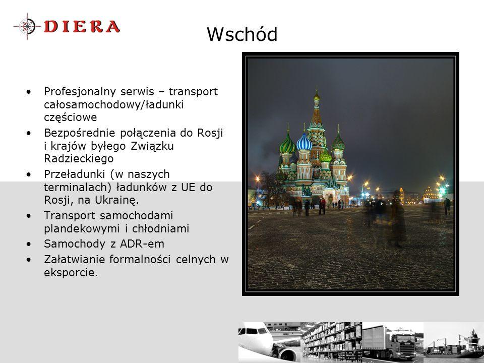 Wschód Profesjonalny serwis – transport całosamochodowy/ładunki częściowe Bezpośrednie połączenia do Rosji i krajów byłego Związku Radzieckiego Przeła