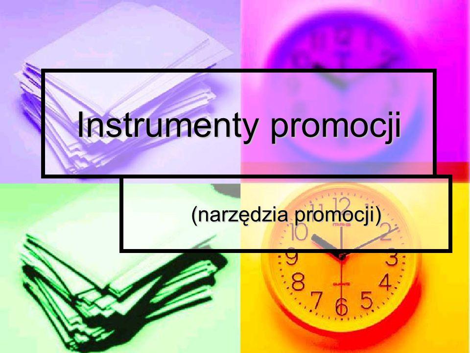 INSTRUMENTY PROMOCJI A KOMUNIKACJA PREZEDSIĘBIORSTWA Z RYNKIEM W zakres komunikacji marketingowej wchodzą: promocja promocja inne działania związane z promocją inne działania związane z promocją