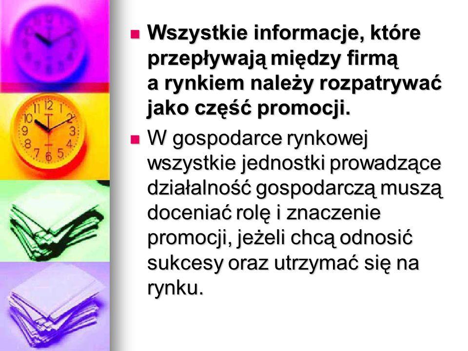 Wszystkie informacje, które przepływają między firmą a rynkiem należy rozpatrywać jako część promocji. Wszystkie informacje, które przepływają między