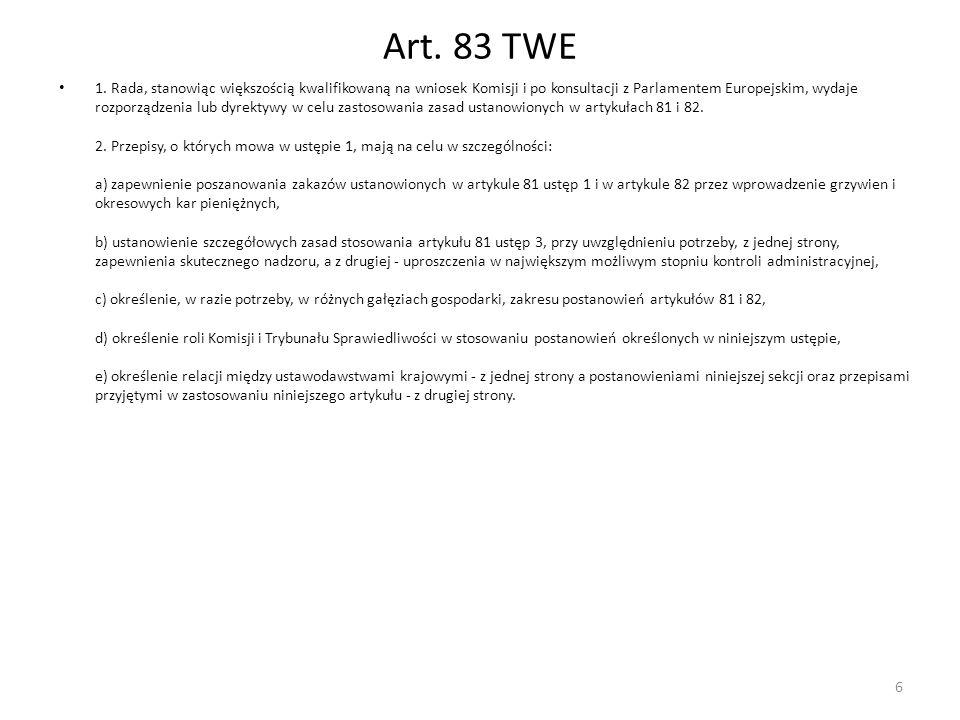Art. 83 TWE 1. Rada, stanowiąc większością kwalifikowaną na wniosek Komisji i po konsultacji z Parlamentem Europejskim, wydaje rozporządzenia lub dyre