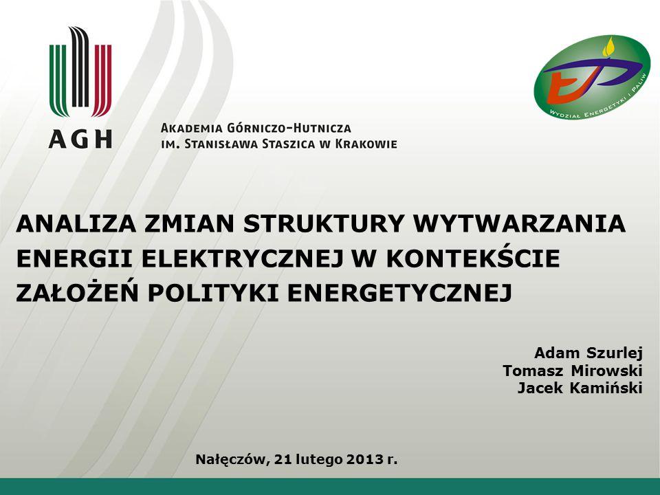 ANALIZA ZMIAN STRUKTURY WYTWARZANIA ENERGII ELEKTRYCZNEJ W KONTEKŚCIE ZAŁOŻEŃ POLITYKI ENERGETYCZNEJ Nałęczów, 21 lutego 2013 r.
