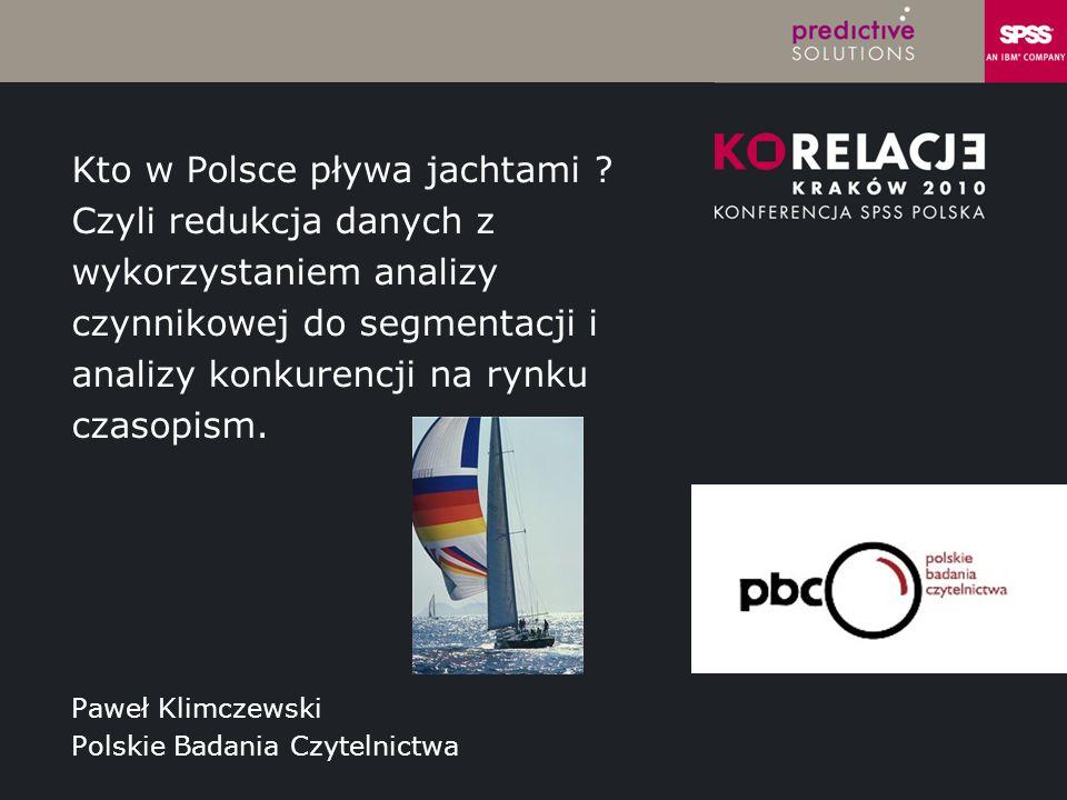 LOGO instytucji Paweł Klimczewski Polskie Badania Czytelnictwa Kto w Polsce pływa jachtami ? Czyli redukcja danych z wykorzystaniem analizy czynnikowe