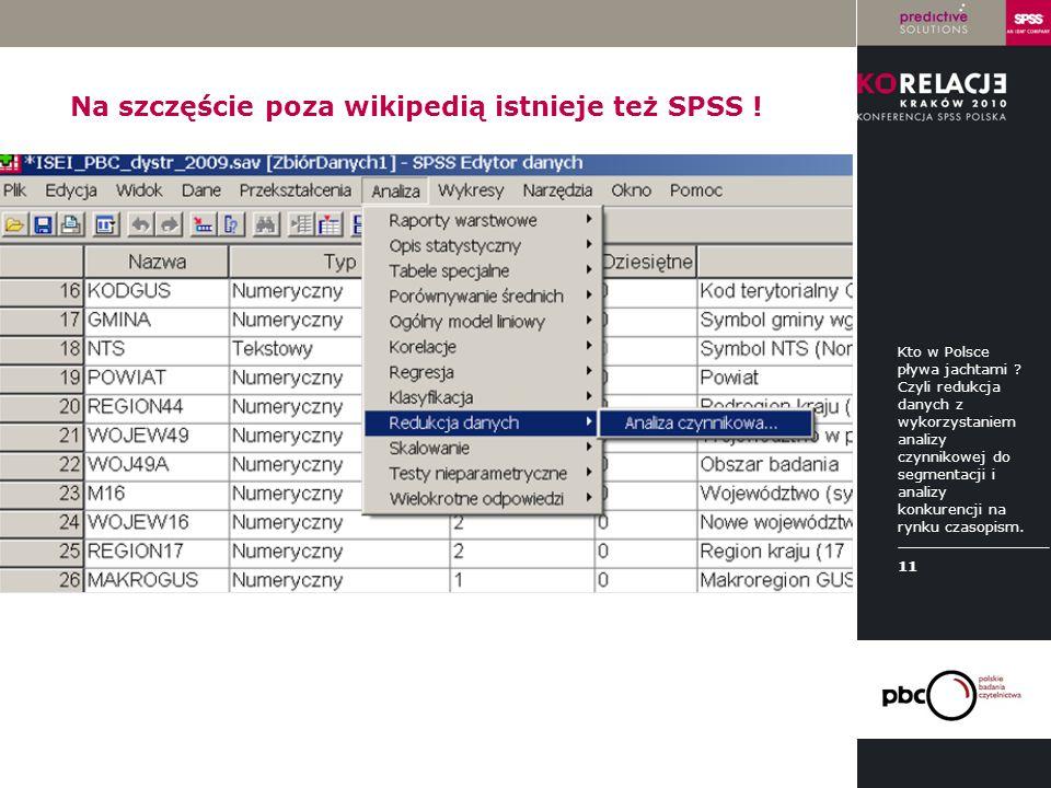 LOGO instytucji Na szczęście poza wikipedią istnieje też SPSS ! Kto w Polsce pływa jachtami ? Czyli redukcja danych z wykorzystaniem analizy czynnikow