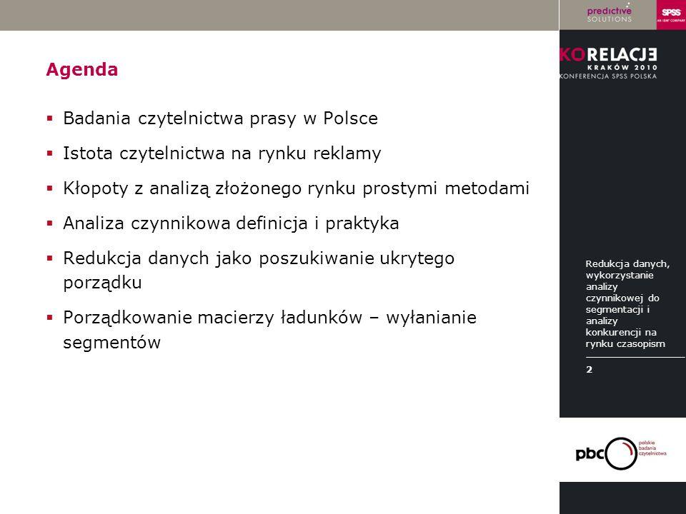 LOGO instytucji Agenda  Badania czytelnictwa prasy w Polsce  Istota czytelnictwa na rynku reklamy  Kłopoty z analizą złożonego rynku prostymi metod