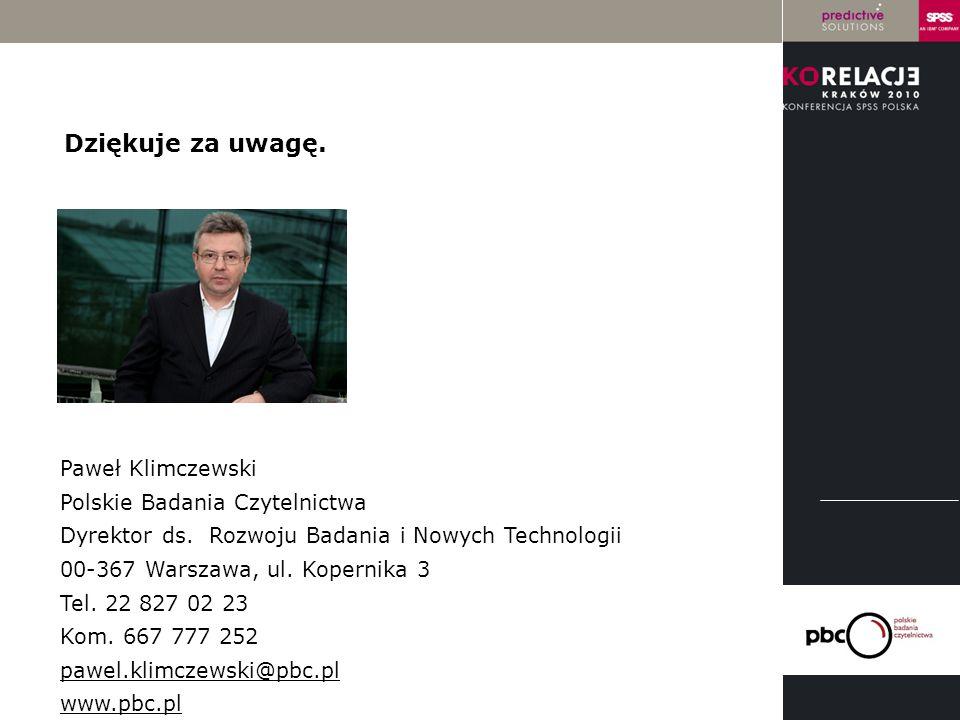 LOGO instytucji Paweł Klimczewski Polskie Badania Czytelnictwa Dyrektor ds. Rozwoju Badania i Nowych Technologii 00-367 Warszawa, ul. Kopernika 3 Tel.