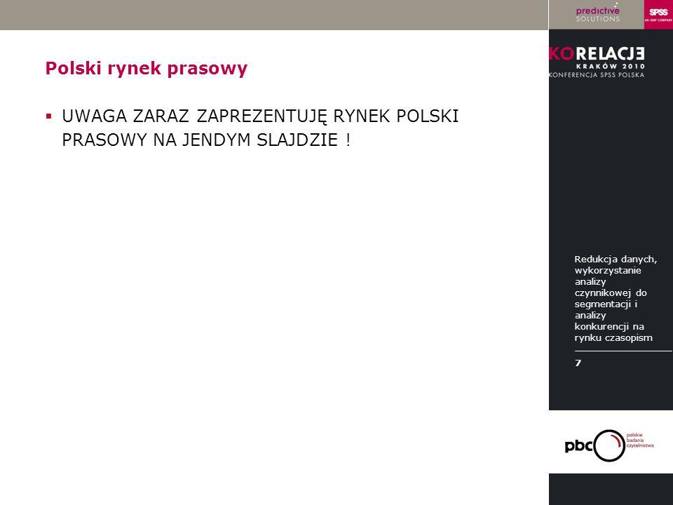 LOGO instytucji Polski rynek prasowy  UWAGA ZARAZ ZAPREZENTUJĘ RYNEK POLSKI PRASOWY NA JENDYM SLAJDZIE ! Redukcja danych, wykorzystanie analizy czynn
