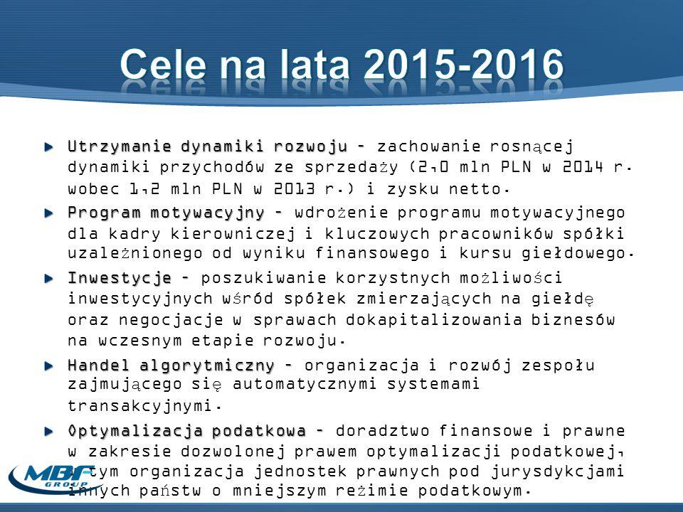 Utrzymanie dynamiki rozwoju – Utrzymanie dynamiki rozwoju – zachowanie rosnącej dynamiki przychodów ze sprzedaży (2,0 mln PLN w 2014 r.