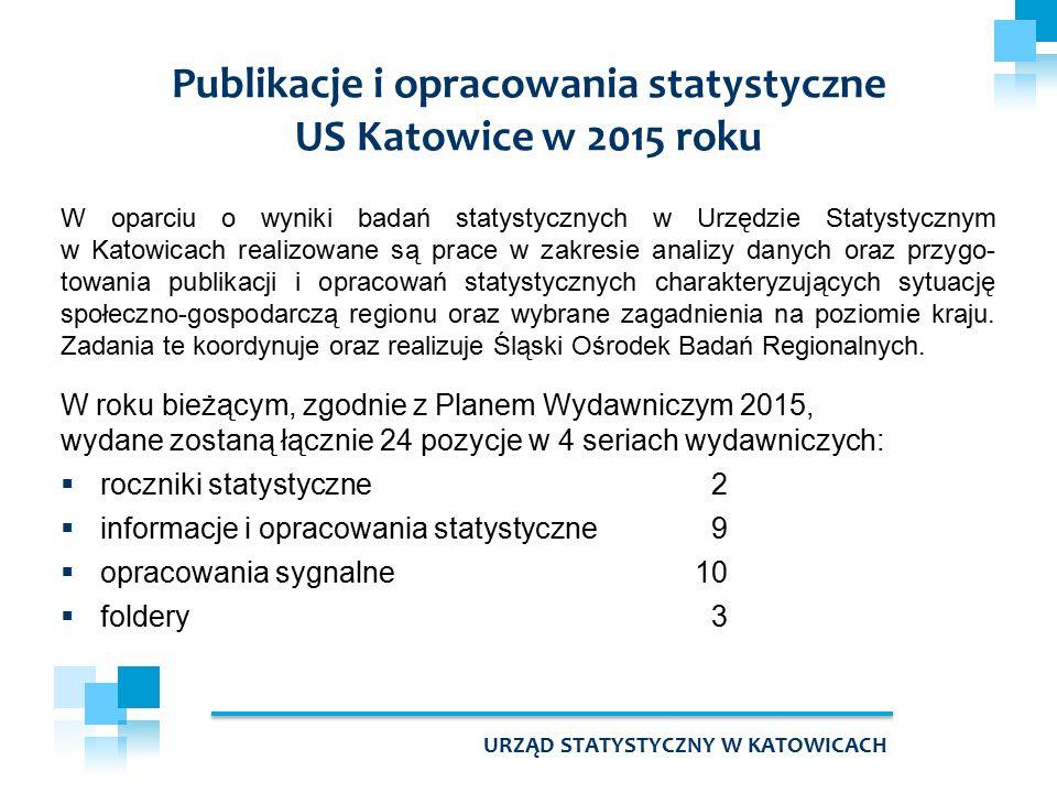 W oparciu o wyniki badań statystycznych w Urzędzie Statystycznym w Katowicach realizowane są prace w zakresie analizy danych oraz przygo- towania publikacji i opracowań statystycznych charakteryzujących sytuację społeczno-gospodarczą regionu oraz wybrane zagadnienia na poziomie kraju.