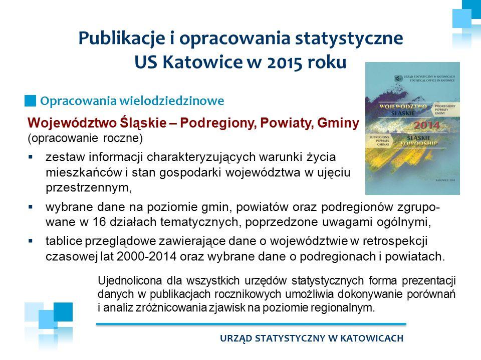 Województwo Śląskie – Podregiony, Powiaty, Gminy (opracowanie roczne)  zestaw informacji charakteryzujących warunki życia mieszkańców i stan gospodar