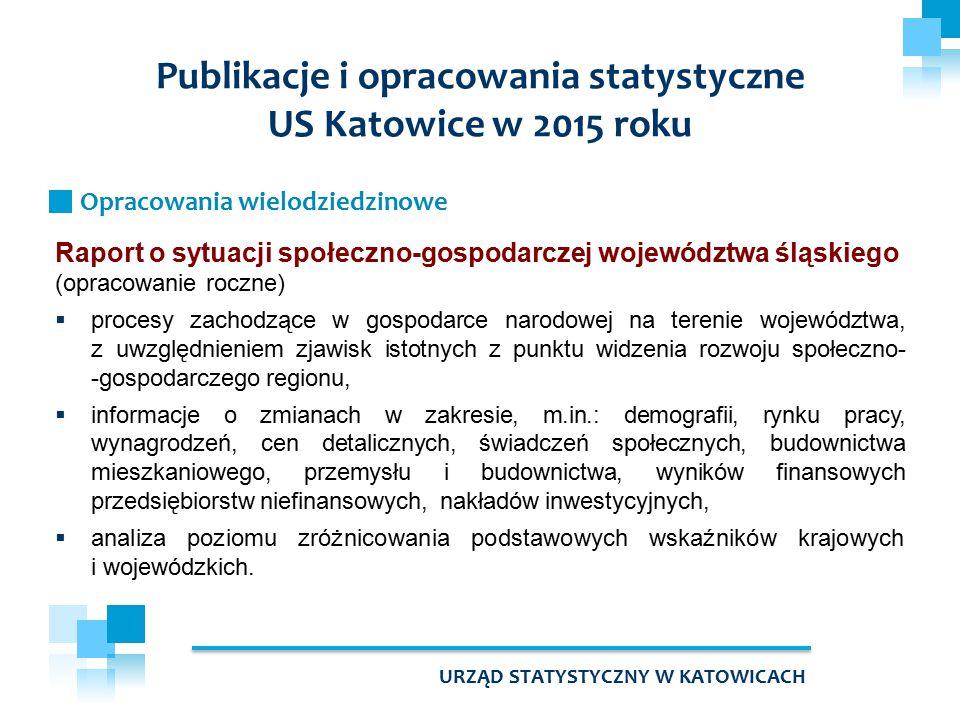 Raport o sytuacji społeczno-gospodarczej województwa śląskiego (opracowanie roczne)  procesy zachodzące w gospodarce narodowej na terenie województwa, z uwzględnieniem zjawisk istotnych z punktu widzenia rozwoju społeczno- -gospodarczego regionu,  informacje o zmianach w zakresie, m.in.: demografii, rynku pracy, wynagrodzeń, cen detalicznych, świadczeń społecznych, budownictwa mieszkaniowego, przemysłu i budownictwa, wyników finansowych przedsiębiorstw niefinansowych, nakładów inwestycyjnych,  analiza poziomu zróżnicowania podstawowych wskaźników krajowych i wojewódzkich.