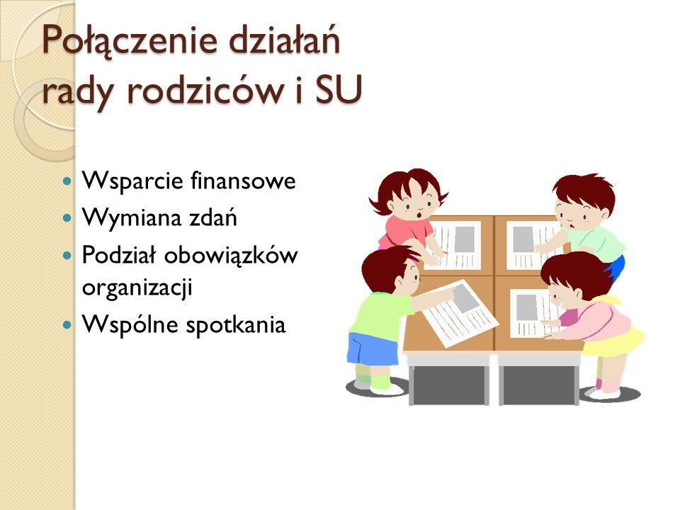 Połączenie działań rady rodziców i SU Wsparcie finansowe Wymiana zdań Podział obowiązków organizacji Wspólne spotkania