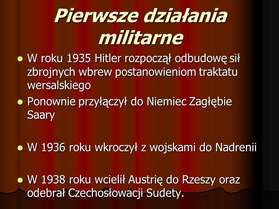 Pierwsze działania militarne W roku 1935 Hitler rozpoczął odbudowę sił zbrojnych wbrew postanowieniom traktatu wersalskiego W roku 1935 Hitler rozpocz
