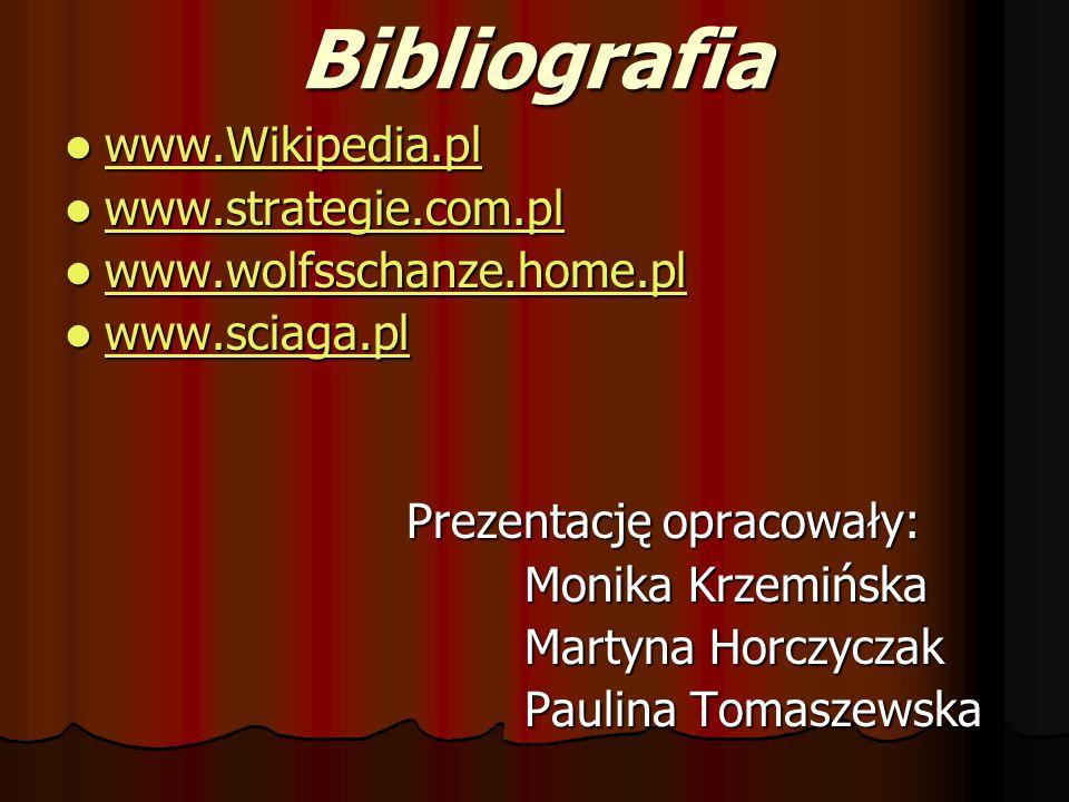 Bibliografia www.Wikipedia.pl www.Wikipedia.pl www.Wikipedia.pl www.strategie.com.pl www.strategie.com.pl www.strategie.com.pl www.wolfsschanze.home.p