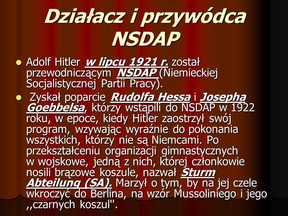Działacz i przywódca NSDAP Adolf Hitler w lipcu 1921 r. został przewodniczącym NSDAP (Niemieckiej Socjalistycznej Partii Pracy). Adolf Hitler w lipcu