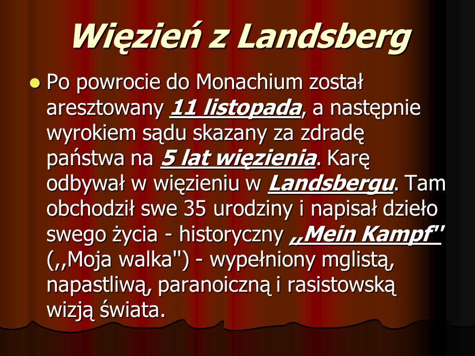 Więzień z Landsberg Po powrocie do Monachium został aresztowany 11 listopada, a następnie wyrokiem sądu skazany za zdradę państwa na 5 lat więzienia.