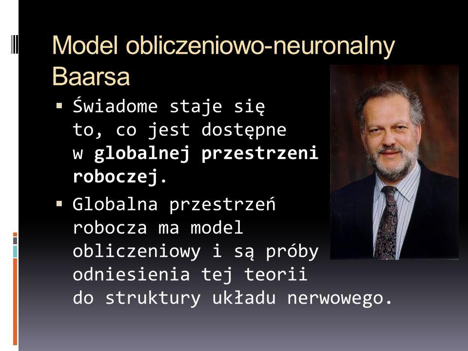 Model obliczeniowo-neuronalny Baarsa  Świadome staje się to, co jest dostępne w globalnej przestrzeni roboczej.