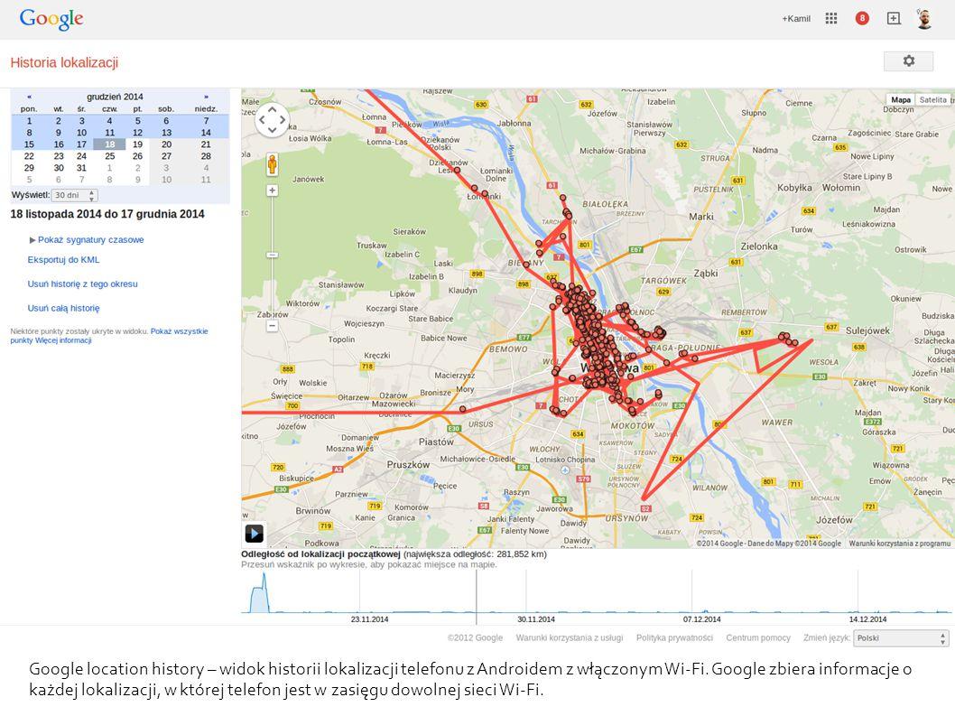 Google location history – widok historii lokalizacji telefonu z Androidem z włączonym Wi-Fi. Google zbiera informacje o każdej lokalizacji, w której t