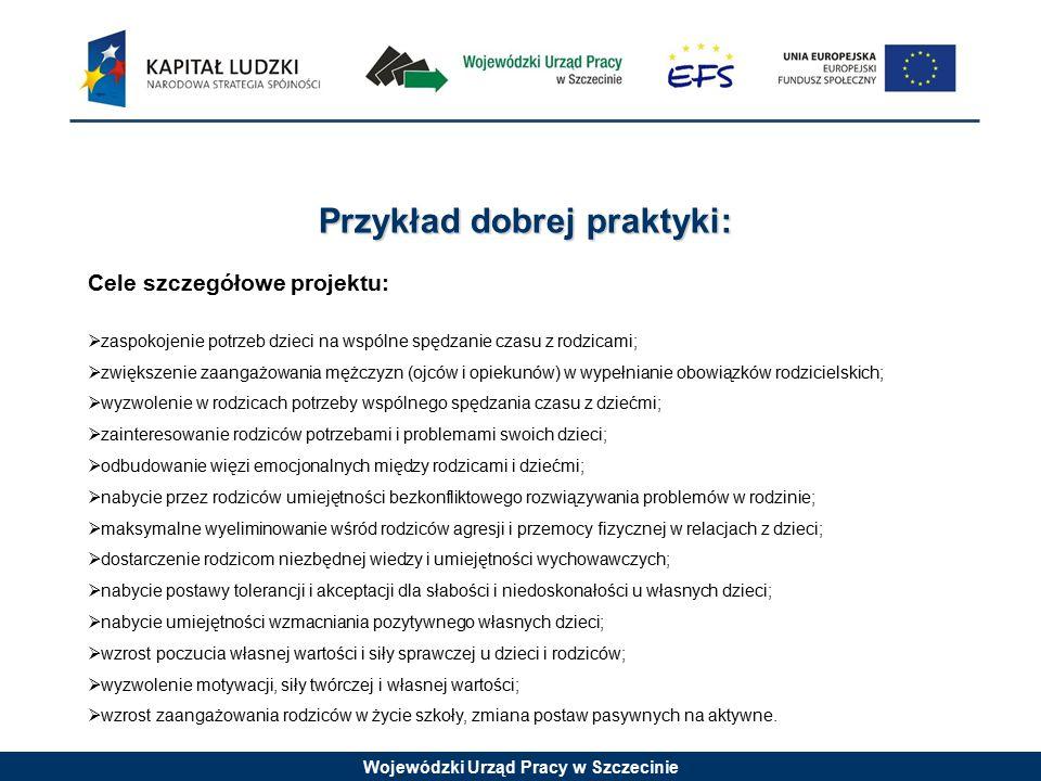Wojewódzki Urząd Pracy w Szczecinie Dobre praktyki zastosowane w projekcie:  efektywność kosztowa - objęcie wsparciem aż 300 uczestników, mimo ograniczonej wysokości dofinansowania (50 tys.