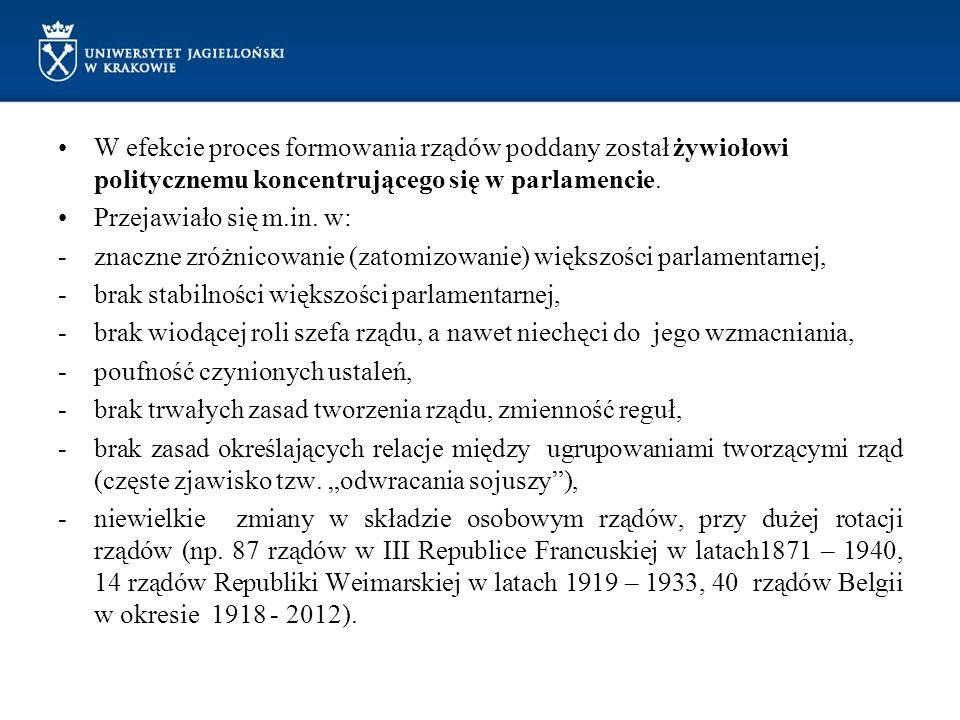 Wyjątkowy na tym tle jest przykład Niemiec Weimarskich (konstytucja z 1919r.), ze szczególną pozycją prezydenta.