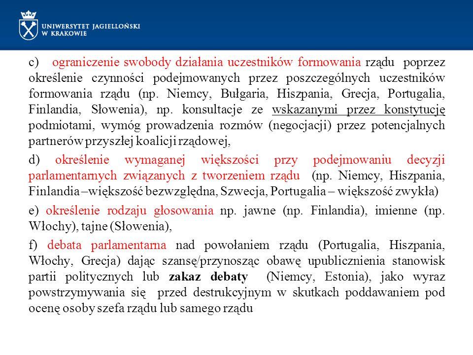 c) ograniczenie swobody działania uczestników formowania rządu poprzez określenie czynności podejmowanych przez poszczególnych uczestników formowania